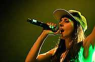Spanish Hip Hop artist Mala Rodriguez makes a rare UK performance, at Village Underground in Shoreditch, part of the La Linea Festival, London, UK (18 April 2013). Cadiz-born Rodriguez won a Latin Grammy for best song for her album Dirty Bailarina.