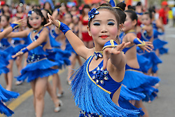 September 16, 2016 - Wuhan, China - Young dancers during their performance at the start line of the final sixth stage, 99.6km Wuhan Xinzhou Circuit race, of the 2016 Tour of China 1...On Friday, 16 September 2016, in Xinzhou, Wuhan , China. (Credit Image: © Artur Widak/NurPhoto via ZUMA Press)