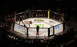 Marc Diakiese (right) and Joe Duffy in action during their Light Heavyweight bout during UFC Fight Night 147 at The O2 Arena, London.