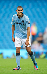01.09.2012, Etihad Stadion, Manchester, ENG, Premier League, Manchester City vs Queens Park Rangers, 2. Runde, im Bild Manchester City's Jack Rodwell feels a knee injury during during the English Premier League 2nd round match between Manchester City and Queens Park Rangers at the Etihad Stadium, Manchester, Great Britain on 2012/09/01. EXPA Pictures © 2012, PhotoCredit: EXPA/ Propagandaphoto/ David Rawcliff..***** ATTENTION - OUT OF ENG, GBR, UK *****