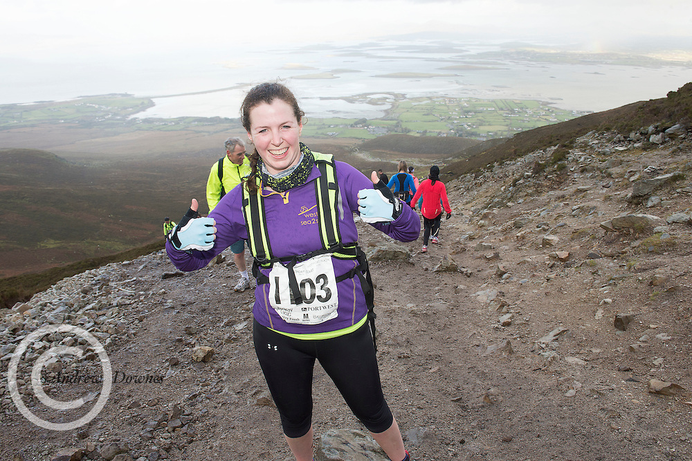 08/11/2014 repro free Becky Lee from Roscommon on Croagh Patrick  in the Sea 2 Summit adventure race in Westport Co. Mayo. Photo:Andrew Downes