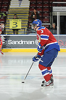 KELOWNA, CANADA, FEBRUARY 15: Mark Pysyk #3 of the Edmonton OIl Kings takes a shot during warm up at the Kelowna Rockets on February 15, 2012 at Prospera Place in Kelowna, British Columbia, Canada (Photo by Marissa Baecker/Shoot the Breeze) *** Local Caption ***