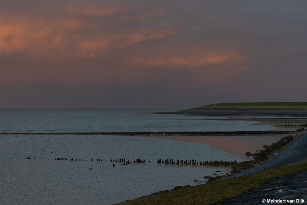 Zonsondergang boven de Waddenzee bij Sexbierum