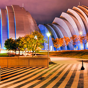 View of Kauffman Center for the Performing Arts from Kansas City Convention Center. Kauffman Center lit in Royal Blue lighting for the 2015 KC Royals MLB World Series.