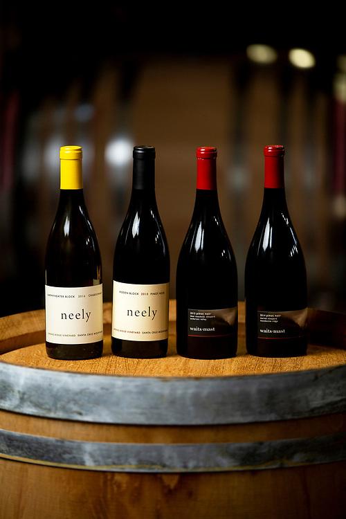 Neely Chardonnay 2016, Neely Pinot Noir 2015, Waits Mast Pinot Noir 2015 and Waits Mast Pinot Noir 2014 on Tuesday, Nov. 19, 2019, in San Francisco, Calif.