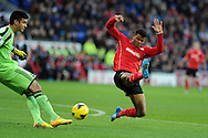Southampton's keeper Paulo Gazzaniga clears from Cardiff's Fraizer Campbell . Barclays Premier league, Cardiff city v Southampton at the Cardiff city Stadium in Cardiff,  South Wales on Boxing day, Thursday 26th Dec 2013. <br /> pic by Andrew Orchard, Andrew Orchard sports photography.