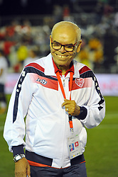 October 6, 2017 - Nabeul, Tunisia - Mokthar Tlili coach of the Tunisian team during the opening match against Portugal....Ceremonie the kickoff of the World Cup mini-football, held from 6 to 15 October in Nabeul (60 km south of Tunis) Tunisia this Friday, October 6, 2017 with the participation of 24 teams from different countries world. (Credit Image: © Chokri Mahjoub via ZUMA Wire)