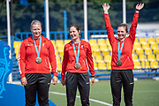Bronze for Denmark during the women's archery recurve team medal ceremony, at the Olympic Sports Complex on the 22nd June 2019 in Minsk in Belarus. Left to right featuring Randi Degn, Maja Jager and Annie Marie Laursen