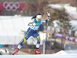 PYEONGCHANG, Feb. 15, 2018  Charlotte Kalla from Sweden competes during women's 10KM free event of country skiing at Pyeongchang 2018 Winter Olympic Games at Alpensia Cross-Country Centre, PyeongChang, South Korea, Feb. 15, 2018. Charlotte Kalla claimed second place in a time of 25:20.8. (Credit Image: © Bai Xuefei/Xinhua via ZUMA Wire)