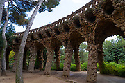 Parc Guell, Barcelona, Catalonia, Spain. A public park design by famed Catalan architect Antoni Gaudim featuring gardens and architectural curiousities.