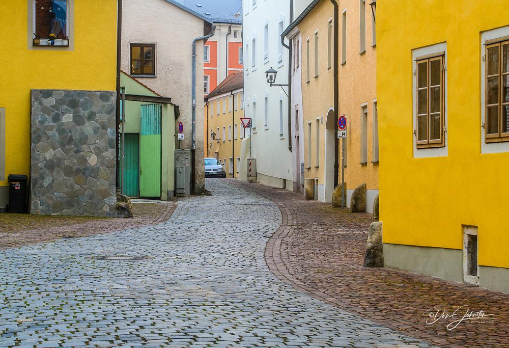 A cobblestone street, Regensburg, Bavaria, Germany