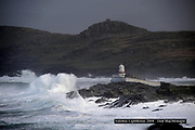 Massive waves lash the rocks at Valentia Lighthouse in County Kerry Ireland.<br /> Picture by Dn MacMonagle