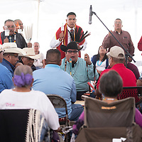 A gourd dance at Navajo Code Talker Day, Tuesday August 14 in Window Rock.