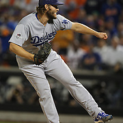 Pitcher Clayton Kershaw, Los Angeles Dodgers, pitching  during the New York Mets Vs Los Angeles Dodgers, game four of the NL Division Series at Citi Field, Queens, New York. USA. 13th October 2015. Photo Tim Clayton