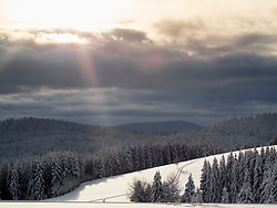 Scenic view of Ski track Thurnerspur in the Black Forest near St. Märgen, Hochschwarzwald, Baden-Württemberg, Germany
