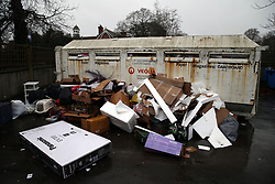 A pile of cardboard dumped at a recycling centre near Ascot, Berkshire, as the festive period comes to an end.