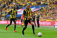Roberto Pereyra (37) of Watford on the attack during the The FA Cup Final match between Manchester City and Watford at Wembley Stadium, London, England on 18 May 2019.