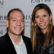 NLD/Amsterdam/20121011- 15 Jarig bestaan Armani Store Amsterdam, Yuri van Gelder en partner Felicia Ronodihardjo