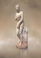 2nd century AD Roman marble sculpture of Aphrodite (Venus), 'Dresden Capitoline Type, copied from a Hellanistic Greek original,  inv 6283 - Farnese Collection, Naples Museum of Archaeology, Italy ..<br /> <br /> If you prefer to buy from our ALAMY STOCK LIBRARY page at https://www.alamy.com/portfolio/paul-williams-funkystock/greco-roman-sculptures.html . Type -    Naples    - into LOWER SEARCH WITHIN GALLERY box - Refine search by adding a subject, place, background colour, museum etc.<br /> <br /> Visit our ROMAN WORLD PHOTO COLLECTIONS for more photos to download or buy as wall art prints https://funkystock.photoshelter.com/gallery-collection/The-Romans-Art-Artefacts-Antiquities-Historic-Sites-Pictures-Images/C0000r2uLJJo9_s0