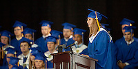 Valedictorian Caitlyn Cennamo speaks during Gilford High School's commencement exercises at Meadowbrook Pavilion on Saturday,  June 11, 2011.  (Karen Bobotas/for the Laconia Daily Sun)Gilford High School Graduation at Meadowbrook Pavilion Saturday, June 11, 2011.