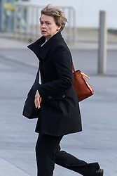 © Licensed to London News Pictures . 16/01/2014 . Salford , UK . Yvette Cooper , MP for  Normanton, Pontefract and Castleford , arrives at the funeral . The funeral of Labour MP Paul Goggins at Salford Cathedral today (Thursday 16th January 2014) . The MP for Wythenshawe and Sale East died aged 60 on 7th January 2014 after collapsing whilst out running on 30th December 2013 . Photo credit : Joel Goodman/LNP