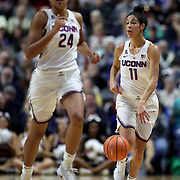 UNCASVILLE, CONNECTICUT- DECEMBER 19:  Kia Nurse #11 of the Connecticut Huskies and Napheesa Collier #24 of the Connecticut Huskies in action during the Naismith Basketball Hall of Fame Holiday Showcase game between the UConn Huskies Vs Oklahoma Sooners, NCAA Women's Basketball game at the Mohegan Sun Arena, Uncasville, Connecticut. December 19, 2017 (Photo by Tim Clayton/Corbis via Getty Images)