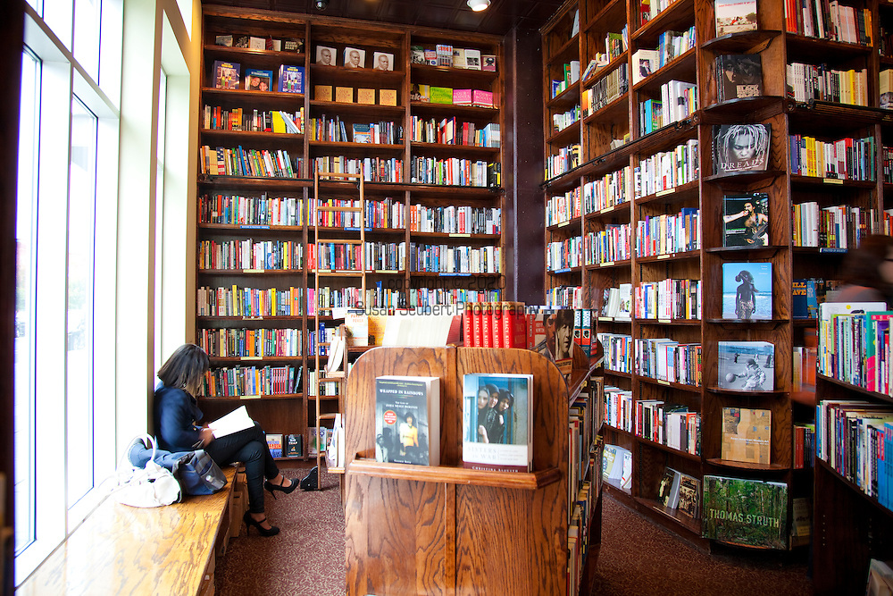 Busboys and Poets is a restaurant, bookstore, fair trade market and gathering place where people can discuss issues of social justice and peace. Busboys and Poets creates an environment where shared conversations over food and drink allow the progressive, artistic and literary communities to dialogue, educate and interact. Pictured here is the book store area.