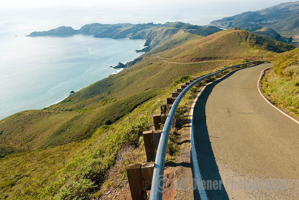Conzelman Road winds along the Marin Headlands north of San Francisco, California.