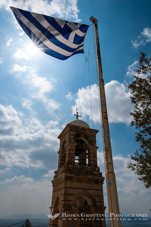 Athens, Greece. Mount Lycabettus is the highest point in the city. The Bell tower.