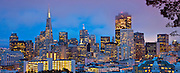 Panorama Of Skyline City View of San Francisco At Night