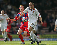 Photo: Lee Earle.<br /> Crystal Palace v Hull City. Coca Cola Championship. 06/10/2007. Hull's Henrik Pedersen (R) holds off Ben Watson.