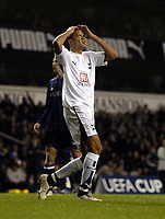 Photo: Olly Greenwood.<br />Tottenham Hotspur v Club Brugge. UEFA Cup. 02/11/2006. Spurs Jermaine Jenas cant's belive he's missed