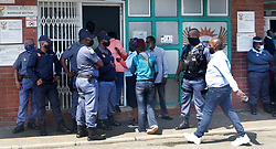 South Africa - Durban - 16 September 2020 - Police officers prevent funeral industry or Nafupa from entering home affairs during their national strike on Umngeni in Durban. Picture: Bongani Mbatha/African News Agency(ANA)