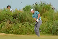 May 20, 2018 - Dallas, TX, U.S. - DALLAS, TX - MAY 20:  Jordan Spieth of the United States chips onto the #1 green during the final round of the 50th annual AT&T Byron Nelson on May 20, 2018 at Trinity Forest Golf Club in Dallas, TX.  (Photo by Andrew Dieb/Icon Sportswire) (Credit Image: © Andrew Dieb/Icon SMI via ZUMA Press)