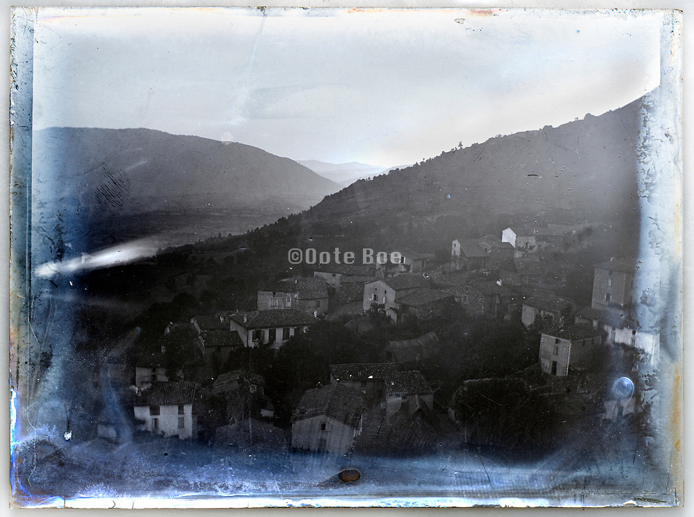 rural village view in mountains France ca 1920s