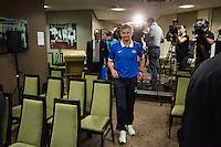 UEFA Europa League 2015: Celtic - Molde. Pressekonferanse med Moldes manager Ole Gunnar Solskjær og Vegard Forren dagen før Europa League kampen mellom Celtic og Molde på Celtic Park.