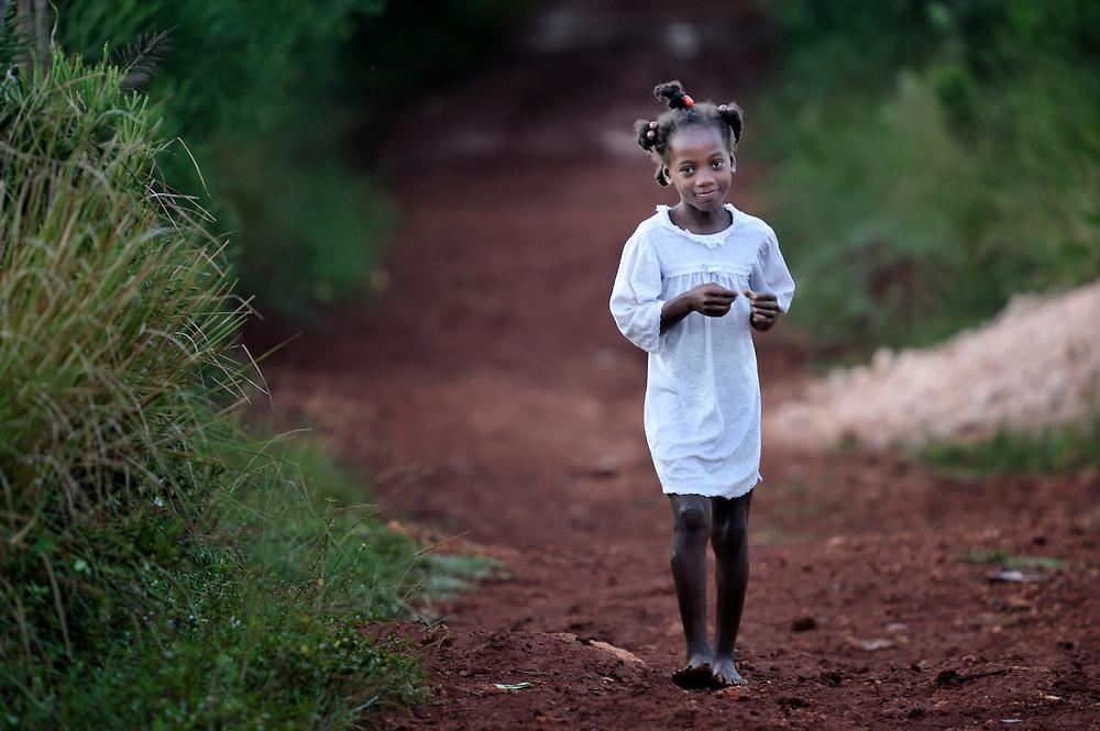 A girl in the Haitian village of Mizak.