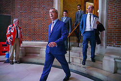 © Licensed to London News Pictures. 29/04/2016. London, UK. UKIP Leader Nigel Farage leaving the venue after delivering a speech on EU referendum and explains security implications if Britain stays in the EU at the Emmanuel Centre in London on Friday, 29 April 2016. Photo credit: Tolga Akmen/LNP