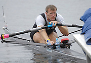 Poznan, POLAND,  NZL M1X, Mahe DRYSDALE, stretches at the start before his morning heat, at the 2008 FISA World Cup. Rowing Regatta. Malta Rowing Course on Friday, 20/06/2008. [Mandatory Credit:  Peter SPURRIER / Intersport Images] Rowing Course:Malta Rowing Course, Poznan, POLAND
