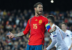 March 23, 2019 - Valencia, Valencia, Spain - Sergio Ramos of Spain lamenting during European Qualifiers championship, , football match between Spain and Norway, March 23th, in Mestalla Stadium in Valencia, Spain. (Credit Image: © AFP7 via ZUMA Wire)
