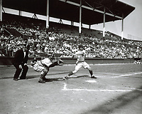 1949-1950 Hollywood Stars Baseball Team game at Gilmore Field. The first year the players started wearing shorts.