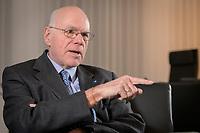 17 DEC 2019, BERLIN/GERMANY:<br /> Norbert Lammert, CDU, Vorsitzender der Konrad-Adenauer-Stiftung, KAS, waehrend einem Interview, in seinem Buero, Konrad-Adenauer-Stiftung<br /> IMAGE: 20191217-02-010<br /> KEYWORDS: Büro