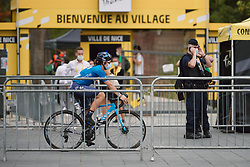 Sheyla Gutierrez Ruiz (ESP) rolls through the maze of fencing at the 2020 La Course By Le Tour with FDJ, a 96 km road race in Nice, France on August 29, 2020. Photo by Sean Robinson/velofocus.com