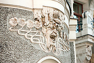Art Nouveau detail on the facade of a building near Old St Gertrude's Church, Riga, Latvia. Riga has one of the greatest concentrations of Art Nouveau architecture of any city in Europe. © Rudolf Abraham