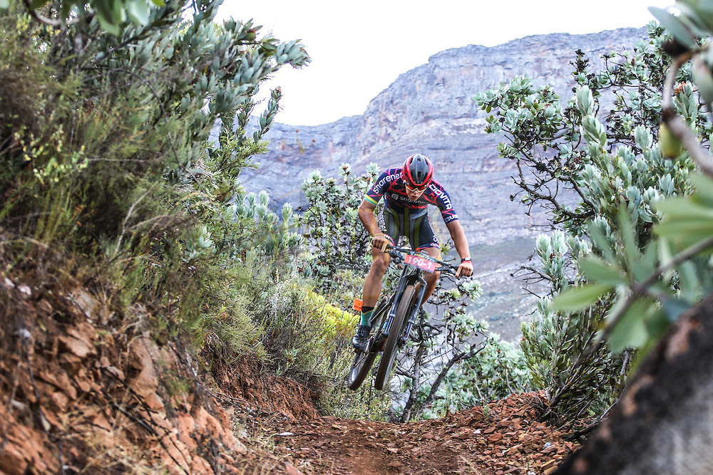 Jarrod Van den Heever shows off his skills as he takes to the air during the DUTOIT Drop singeltrack section of Stage 2 of the Momentum Health Tankwa Trek, presented by Biogen, on Saturday the 11th of February 2017.