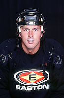 8 August 2000:  NHL ice hockey player Mike Modano of the Dallas Stars poses for a headshot wearing Easton helmet and jersey in studio.