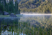 The mist danced across Lake Dorothy in the early morning.