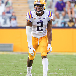 Sep 26, 2020; Baton Rouge, Louisiana, USA; LSU Tigers tight end Arik Gilbert (2) against the Mississippi State Bulldogs during the second half at Tiger Stadium. Mandatory Credit: Derick E. Hingle-USA TODAY Sports