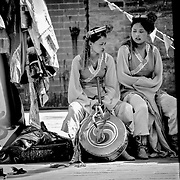 Tibetan dancers taking a break, Xian, China (May 2004)