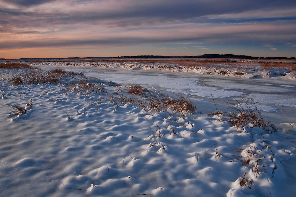 First light on snow & ice fields, Parker River National Wildlife Refuge in winter, Salisbury, NH